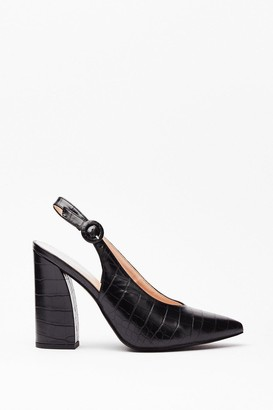 Nasty Gal Womens Slingback for Good Faux Leather Croc Heels - Black - 3