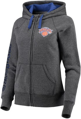 G Iii Women's G-III 4Her by Carl Banks Charcoal/Blue New York Knicks Playoff Suede Fleece Full-Zip Jacket