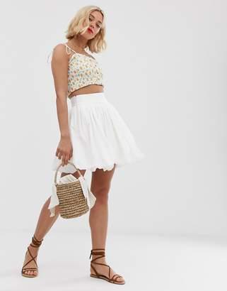 Asos Design DESIGN cotton bubble mini skirt-White