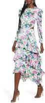 WAYF Floral Print Cutout Waist Long Sleeve Dress