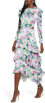 WAYF Floral Print Cutout Waist Long Sleeve Dress