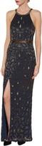 Gina Bacconi Celeste Beaded Maxi Dress, Navy/Gold