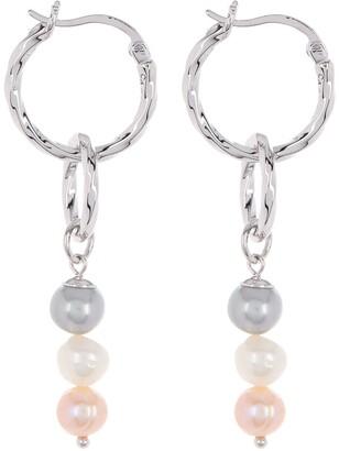 Carolee Jane Sterling Silver Multi-Color Freshwater Pearl Drop Hoop Earrings