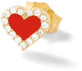 Alison Lou Enamel Heart Stud Earring With Pave Diamonds
