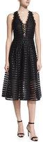 Nanette Lepore Lace-Up Mesh Midi Dress