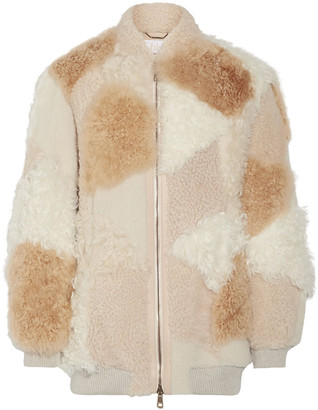 Chloé Oversized Patchwork Shearling And Alpaca Bomber Jacket