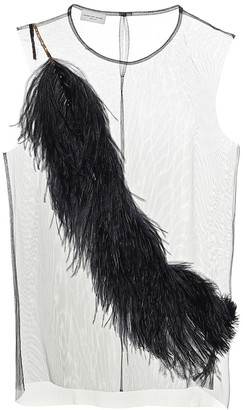 Dries Van Noten Feather-trimmed chiffon top