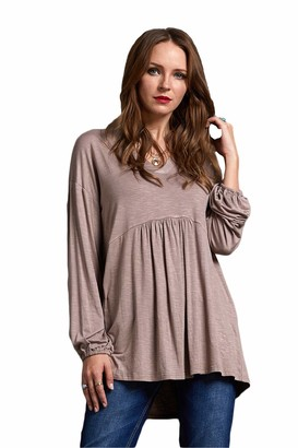 SONJA BETRO V-Neck Empire Waisted Long Balloon Sleeve Solid Knit Babydoll Tunic Top