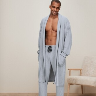 The White Company Mens Cotton Jersey Robe, Mid Grey Marl, Large