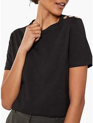 Mint Velvet Military Button T-Shirt, Black