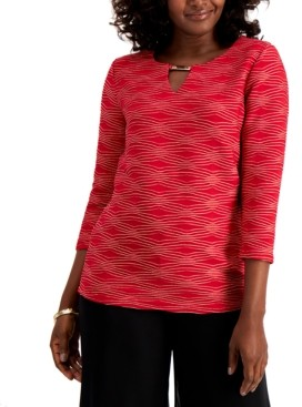 JM Collection Petite Metal Keyhole Top, Created for Macy's