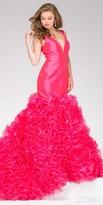 Jovani Plunging Ruffle Taffeta Mermaid Gown