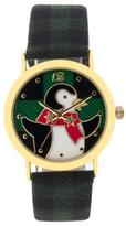 "MZ Berger ""Penguin"" Goldtone Watch with Green Flannel Strap"