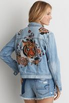 American Eagle Outfitters AE Embroidered Tiger Denim Jacket
