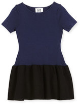 Milly Minis Short-Sleeve Ponte Fit-and-Flare Two-Tone Dress, Size 8-14
