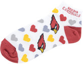 For Bare Feet Women's Arizona Cardinals Heart Logo Repeat Socks
