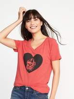 Old Navy College-Team Graphic V-Neck Tee for Women
