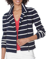 Chaps Petite Striped Moto Sweater