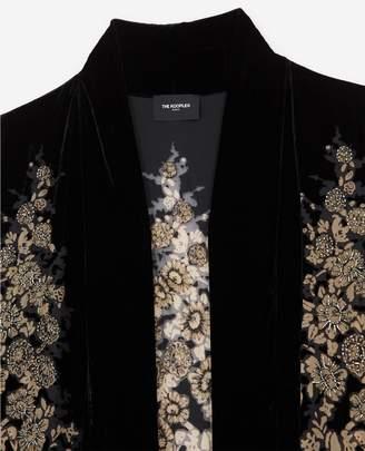 The Kooples Short golden floral velvet kimono