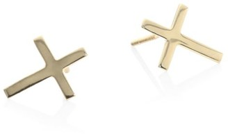 Lana Girl Cross 14K Yellow Gold Stud Earrings