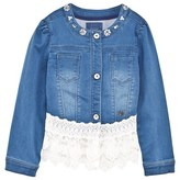 GUESS Blue Denim Lace Trim Jacket