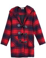 ZANLICE Women's Loose Plaid Hooded Wool Blend Toggle Coat