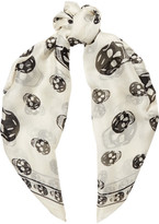 Alexander McQueen Skull-print Silk-chiffon Scarf - White