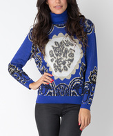 Yuka Paris Blue & Ivory Crest Turtleneck Sweater