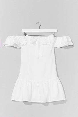 Nasty Gal Womens Lost For Words Off-the-Shoulder Ruffle Dress - White