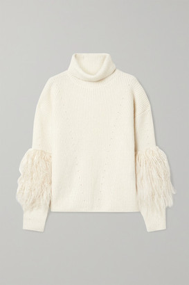 Sally LaPointe Shearling-trimmed Ribbed Cashmere And Silk-blend Turtleneck Sweater - Cream