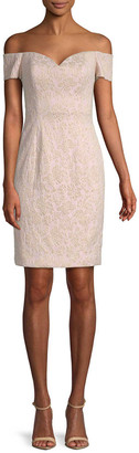 Badgley Mischka Off-The-Shoulder Brocade Sheath Dress