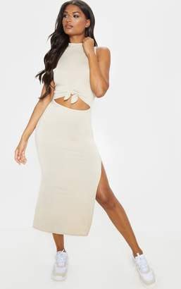 PrettyLittleThing Stone High Neck Knot Front Split Maxi Dress