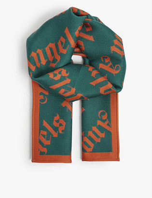 Palm Angels Logo-knit woven scarf