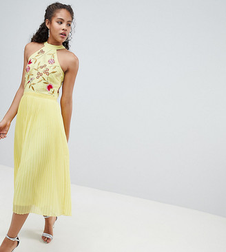 Frock And Frill Tall Embroidered Top Pleated Midi Dress-Yellow