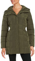 Larry Levine Shirred-Waist Hooded Quilted Down Coat