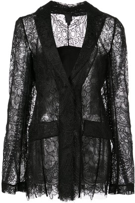 Vera Wang Sheer Lace Fitted Jacket