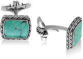 Effy Men's Manufactured Turquoise (12-1/2 x 9-1/2mm) Cuff Links in Sterling Silver and Black Lacquer