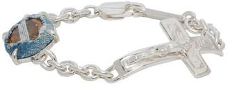 SWEETLIMEJUICE Silver Oval Crucifix Bracelet