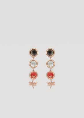 Emporio Armani Drop Earrings With Enamel And Mother-Of-Pearl Discs