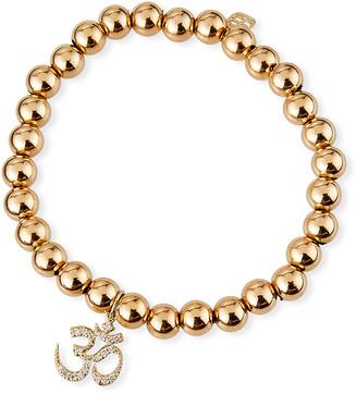 Sydney Evan 14k Gold Bead & Diamond OM Bracelet