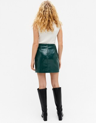 Monki Lucy faux leather mini skirt in green