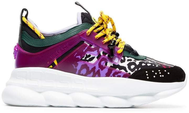 Versace chain reaction leather trainers