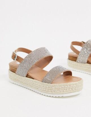 Steve Madden Catia flat sandals in rhinestone