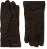 Prada Cashmere-Lined Textured-Suede Gloves
