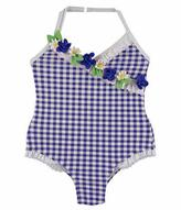 Mayoral Floral Gingham Halter Swimsuit, Blue, Size 3-7