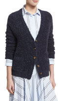 Brunello Cucinelli Cotton Raffia Cardigan Sweater, Navy