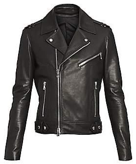 Balmain Men's Stamped Leather Moto Jacket