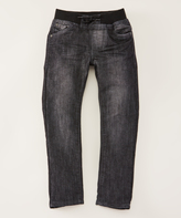 DKNY Washed Black Ribbed-Waist Pull-On Jeans - Boys