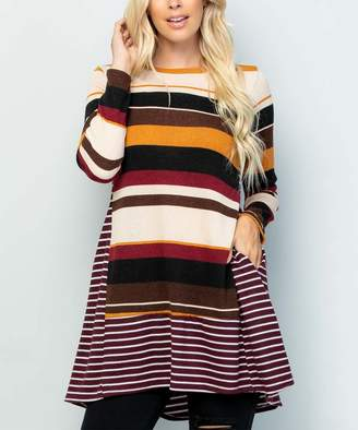 Celeste Women's Tunics BURG - Burgundy Stripe Long-Sleeve Pocket Tunic - Women & Plus