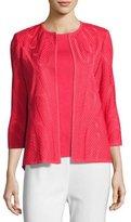 Misook Textured 3/4-Sleeve Jacket, Sorbet, Petite